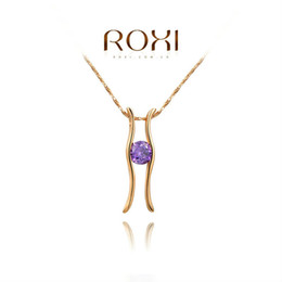 Wholesale Lucky Stone Sale - 015 ROXI New Summer Gift Classic PENDANT Fashion Gold Plated Link Chain Calabash Sales Lucky NECKLACE Purple Stone
