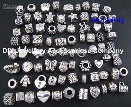 Wholesale Mixed Beads Big Hole - 100pcs beads charms Mix 29 Style Big Hole Loose Beads charm For Pandora DIY Jewelry Bracelet For European