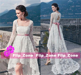 Wholesale Mini White Corset Wedding Dresses - Plus Size Boho 2016 Wedding Dresses Full Lace Long Sleeves Keyhole Backless Corset High Low A-Line Beaded Sash Summer Beach Bridal Gowns