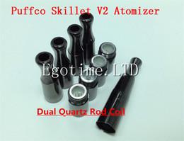 Wholesale Rods Wholesales - HOT!! Puffco Vaporizer Skillet V2 Atomizer with Dual Quartz Rod Coils Replaceable Coil Head VS Dual ceramic skillet Glass Globe Cannon tank
