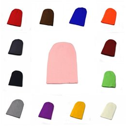 Wholesale tie dye fabrics wholesale - Unisex Pure Color Fluorescent Cap Super Thick Double Layer Fabric Hat Universal Knitting Warm Beanie For Men And Women 3bd B