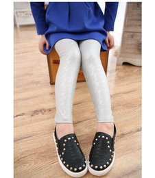 Wholesale Pu Pants - Fall 2015 new panty tight PU imitation leather pants leggings of the girls Stretch pants wholesale children BH1311