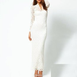 Wholesale Scallop Neck - Ms fashion sexy women maxi wearing long-sleeved v-neck slim scallops neck lace white black blue