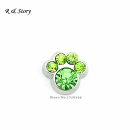 Wholesale Paw Floating Charm - August Peridot Light Green Stones Pet Paw Floating Charms fit Floating Locket LFC_1549