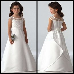 Wholesale Kids Dresses Cheap Prices - 2015 White Flower Girls Dresses A Line Satin Cheap Price Floor Length Formal Kids First Communion Dress For Girls Custom
