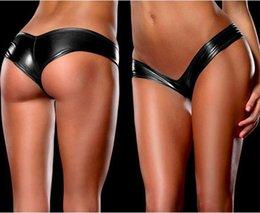 Wholesale Leather Micro Bikini - Wholesale-Sexy Women's Metallic Micro ShortsThongs PVC Faux Leather G-string V-string Panties Knickers Lingerie Hot Pants Short
