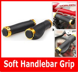 Wholesale Red Mountain Bike Handlebars - Bicycle LOCK-ON Handlebar Bike Handle Bar Grips Red Blue Brown Yellow Black MTB Parts 2PCs Pair