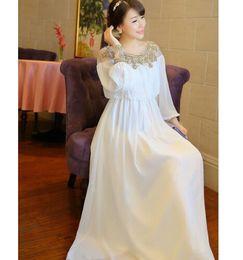 Wholesale Greek Sleeves - 2016 New Fashion Summer And Spring Heavy Wind Palace Greek Goddess Chiffon Dress Beaded Long-sleeved White Dress JZ7