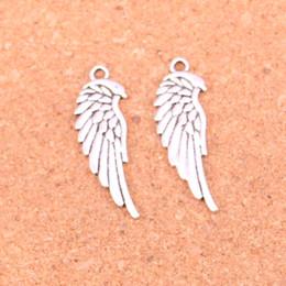 silberne metallflügel Rabatt 118pcs Antik Silber Charms doppelseitige Engel Flügel Anhänger Fit Armbänder Halskette DIY Metall Schmuck machen 33 * 12mm