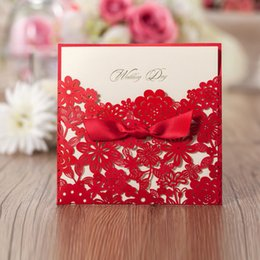 Wholesale Elegant Wedding Invitation Cards - 2017 Personalized Print Wedding Invitations Cards Elegant Red Laser Cut Flora with Ribbon 150*150cm CW5086 WISHMADE Party Cards