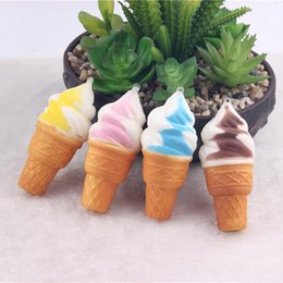 Wholesale Soft Toys For Kids - New Ice Cream Phone Straps Soft Squishy Slow Rising Squeeze Squishies Toys for Bags Cell Phone Kids Toy Random Color Super Cute Jumbo