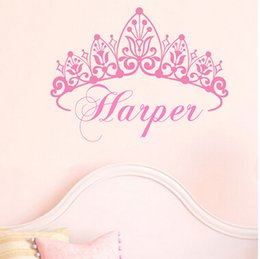 Wholesale Crowns For Decor - New 2014 Baby Girl Crown Wall Decal Princess Name Nursery Vinyl Wall Sticker Wall Art For Kid Room Decor
