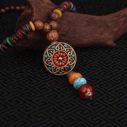 Wholesale Ethnic Pendant Necklace - Wholesale- fashion evade ethnic necklace,The flower of religious vintage round plate Nepal jewelry,handmade sanwood bodhi vintage necklace