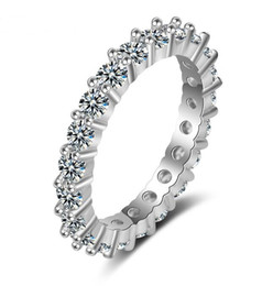Wholesale White Gold Promise Rings - Wedding Ring Classic Design Platinum Plated or rose gold plated 3mm Simulated Diamond Eternity Ring Wedding Ring Promise Rings For Women
