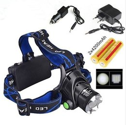 Wholesale Led Headlamp Rechargeable Cree Zoom - 1set CREE XM-L T6 LED 2000Lumens Rechargeable ZOOM Headlights LED Headlamp cree+2x18650 Battery 4200mAh Charger Fishing Lights miner's lamp