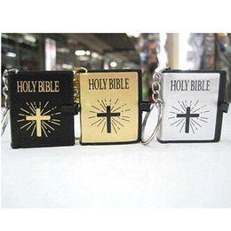 Wholesale Gift Souvenir Keychain - 2015wholesale 50pcs HOLY BIBLE keychain Religious Christian Jesus Book Key chain Key Chain Keyring Chaveiro Gift Souvenir Llaveros 1145