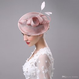 Wholesale Wedding Cocktail Hats - 2017 Women Bridal Hat Linen with Feather Lady Chic Fascinator Hat Cocktail Wedding Party Church Headpiece Hair Accessories