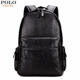 Wholesale Male School Bags - VICUNA POLO Famous Brand Preppy Style Leather School Backpack Bag For College Simple Design Men Casual Daypacks mochila male New