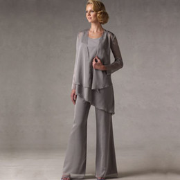 Wholesale Robe Pants - Mother of The Groom Grey Chiffon Bridal Mother Bride Pant Suits With Jacket Women Evening Pant Suits robe de mere de mariee