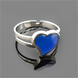 Wholesale Heart Change Color - Mood Ring Free Shipping Wholesale 12 Pieces Lot Mood ring color change Rings for women Dancing Hearts Band Ring