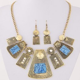 Wholesale Yellow Statement Earrings - 2016 New Collier Femme Geometric Statement Jewelry Sets Crystal Resin Collares Square Necklaces & Earrings Set Colar For women