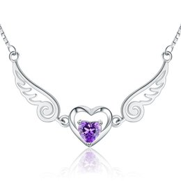 Wholesale Online Sterling Silver - Latest Tops for Girls Online Shop China 925 sterling silver wing heart shape necklace white rhodium plated fashion jewelry