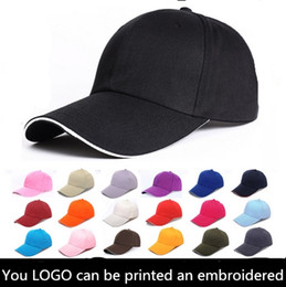 Wholesale Sun Logos - 6 Panels Plain Cotton Baseball Caps With Sandwish Adjustable Strapbac Custom Printing Embroidery Logo For Adults Cheap Sports Hats Sun Visor