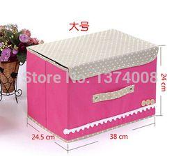 Wholesale Medical Beds - Free Shipping 1pcs Fashion Pink Large Buttoning Shirt Finishing Underwear Covered Storage Boxs Hot Sales