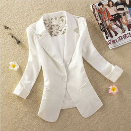 Wholesale Slimming Elegant Clothes - 2015 New 5 Colors Women Blazer Elegant Spring Autumn Candy One Button Crochet Lace Ladies Suit Jacket Blazer Coat Clothing 1709