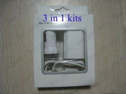 Wholesale Mini Usb Phone Charger Cable - new 3 in 1 kit mini USB car charger + EU US wall charger + USB cable for samsung I brand phone include retail package 300pcs lot