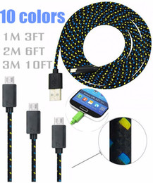 Wholesale Cloth Iphone Cable - Braided Woven Charger Cable for Samsung Extension Micro USB Charging Wire Data Sync Cloth Colorful Cord for HTC 1M 3FT 2M 6FT 3M