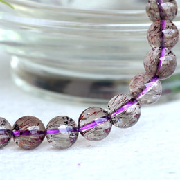 Wholesale Gemstones Stretch Bracelets - Wholesale Natural Genuine Multi Colors Mix Clear Purple Super Seven 7 Finish Stretch Bracelet Round Beads Melody Stone Gemstones 7.5mm 04065