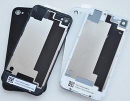 Canada 100PCS / Lot porte de la batterie de haute qualité pour iPhone 4S arrière porte de la couverture de verre plaque arrière plaque 4G logement de remplacement noir / blanc DHL Offre