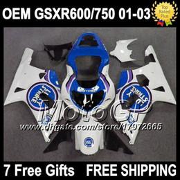 Wholesale Lucky Strike Fairings - OEM+Cowl For SUZUKI 01 02 03 GSXR600 Lucky Strike 2001 2002 2003 #4317 GSXR750 Blue white GSXR 600 750 GSX R600 R750 K1 01-03 Fairings