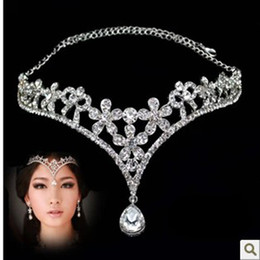 Wholesale gold tiara red rhinestones - 2016 Silver Red Korean Style Women Rhinestone Crystal V Shape Water Drop Crown Tiara Hairwear Wedding Bridal Jewelry Accessory Headpieces