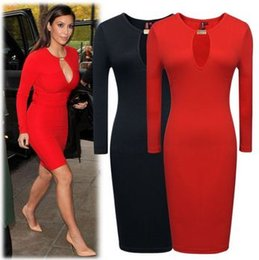 Wholesale Casual Sheath Wedding Dresses - 2015 New Summer Style Red Black Womens Ladies Long Sleeve Pencil Style Bodycon Wedding Party Office Work Dresses Size SM-XXL