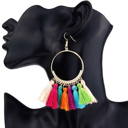 Wholesale vintage numbers - Handmade Ethnic Bohemian Tassel Earrings vintage bohemia women jewelry Long Tassel Earrings for Women 2018 year gift