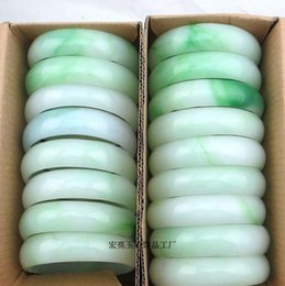 Wholesale Nature White Jade - 36PCS wholesale factory price Women men gems Agate A-578 NATURE BEAUTIFUL GREEN WHI GREEN JADE JADEITE BRACELET BRANGLE High-quality Jewelry