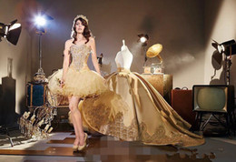 Argentina apliques de oro vintage corsé gótico Vestidos de quinceañera con tren catedral desmontable Dulce 16 fiesta de cumpleaños vestido de desfile de la mascarada Suministro