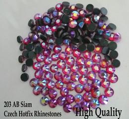 Wholesale Glass Hot Fix - Small Bag SS6 SS10 SS16 SS20 SS30 Crafts Made Shiny Glass Czech Hot fix Strass Siam AB Heat Transfer Flatback Hotfix Rhinestones