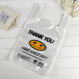 Wholesale Transparent Bag Material - Transparent Smiling Face Portable Plastic Bags Customized Fresh Material Waterproof Multi-purpose Vest Shopping Bags free shipping