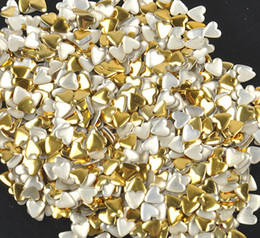 Wholesale Heart Nail Stickers - Wholesale- 10g bag DIY Heart Acrylic Gold Sliver 3d Nail Art Decorations Charms Glitter Nail Decoration Tools Sticker Tips