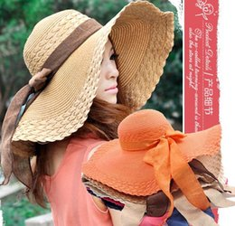 Wholesale Straw Hat Womens Fashion - 2015 New Sun straw Hat for Womens fashion Summer Wide Large Brim Floppy Block Beach Straw Hat cap with linen big bow Beach Headwear 11color