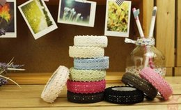Wholesale Lovely Fabric Tape - Wholesale-Wholesale (20pcs lot) Lovely Double side Lace Cotton Tape ,Adhesive Fabric lace Tape Free shipping