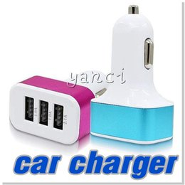 Wholesale Usb Car Adapter Colors - Car Chargers 5V 4.1A Output 3 USB Ports Universal Adapter for iphone 6S 6 Accepts All USB Charge Cables Mix Colors No Package DHL Free