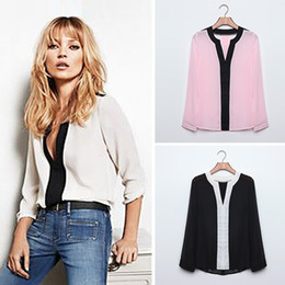 Wholesale Long Loose Blouses For Women - Sexy Chiffon Deep V Slim Blusa Patchwork Casual Blouse Shirt Long Sleeve Loose Tops Camisa Feminina for Women Top Quality