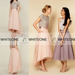 Wholesale Long Sleeve T Shirts Junior - Shiny 2015 Beach Chiffon Junior Bridesmaid Dresses Plus Size Bridesmaid Dresses Short Sleeves Hi-Lo Sequins Two Pieces Maid Of Honor Dresses
