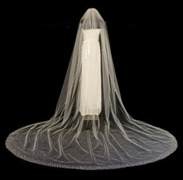 Wholesale Diamond White Bridal Veils - Luxury Cathedral Bridal Veils With Crystal Edge Crystals Diamond Top Wedding Veil White Ivory Bling Bling Bridal Accessories