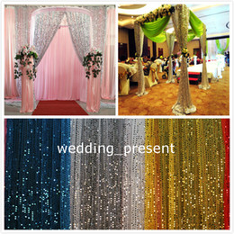 Wholesale Weaving Warp - Shiny 9mm Sequins Fabric For Wedding Table Cloth Decoration Backdrop Multicolor Wedding Gauze Background Curtain Sequined Fabric - 1 Yard