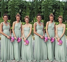 Wholesale Bill Levkoff 14 - Perfect Matching 3 Styles Long Mint Chiffon Bridesmaid Dresses One Shoulder A-line Floor Length Chiffon Bill Levkoff Wedding Party Prom Gown